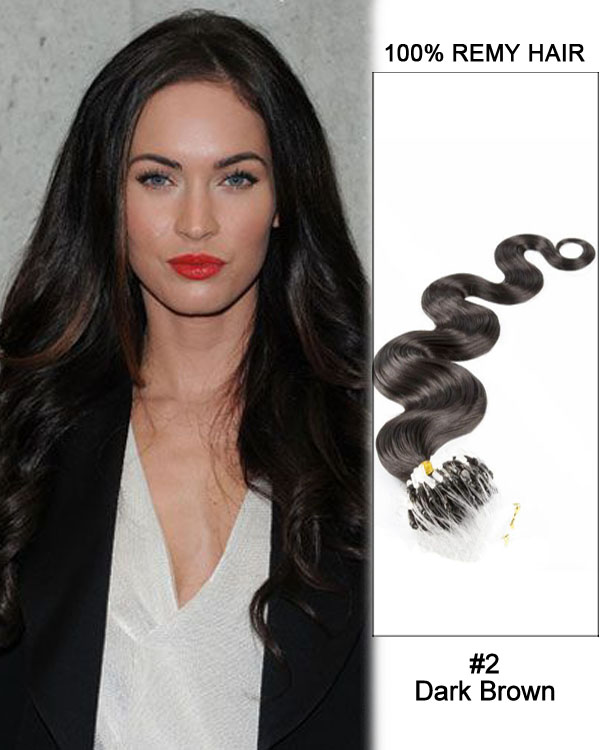 "16"" #2 Dark Brown Body Wave Micro Loop 100% Remy Hair Human Hair Extensions-100 strands, 1g/strand"