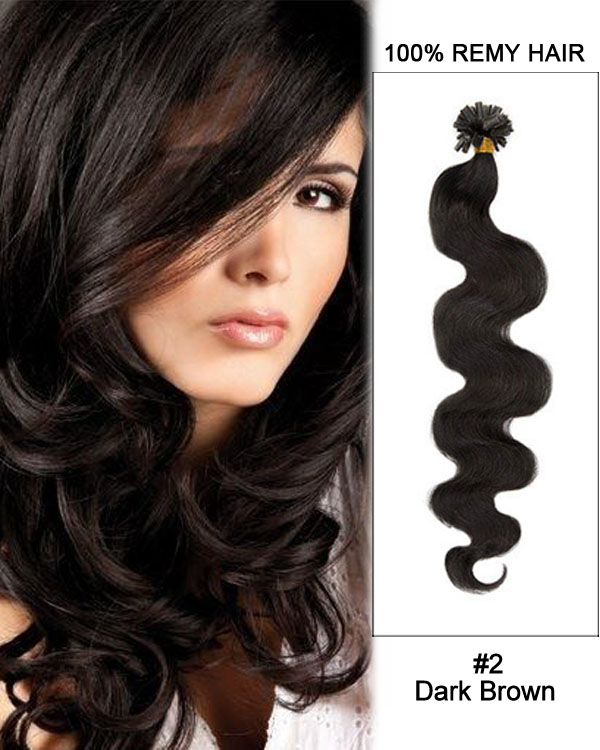 "14""#2 Dark Brown Body Wave Nail Tip U Tip 100% Remy Hair Keratin Hair Extensions-100 strands, 1g/strand"