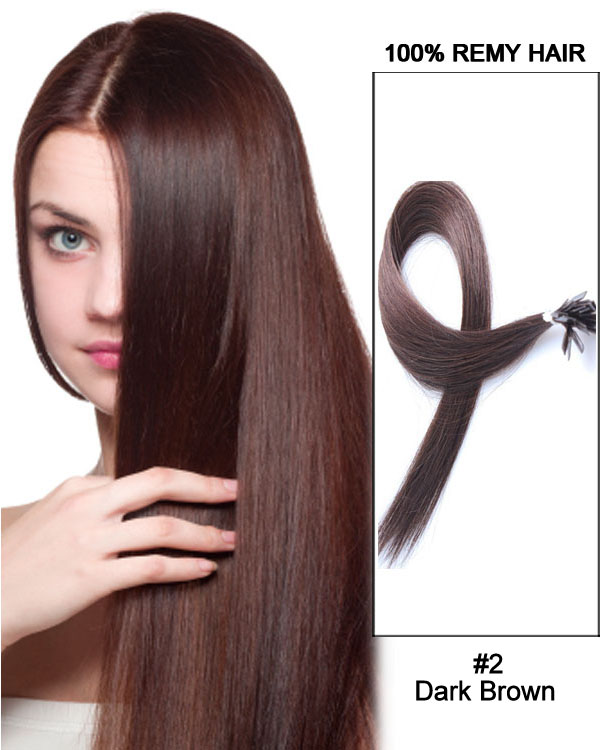"14""#2 Dark Brown Straight Flat Tip 100% Remy Hair Flat Pre Bonded Hair Extensions-100 strands, 1g/strand"