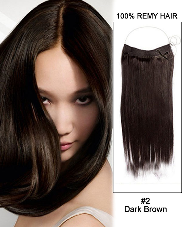 "16"" #2 Dark Brown Straight Invisible Wire Secret Hair Extensions 100% Remy Hair Human Hair Extensions"