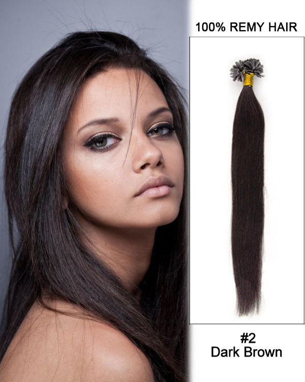 "14""#2 Dark Brown Straight Nail Tip U Tip 100% Remy Hair Keratin Hair Extensions-100 strands, 1g/strand"