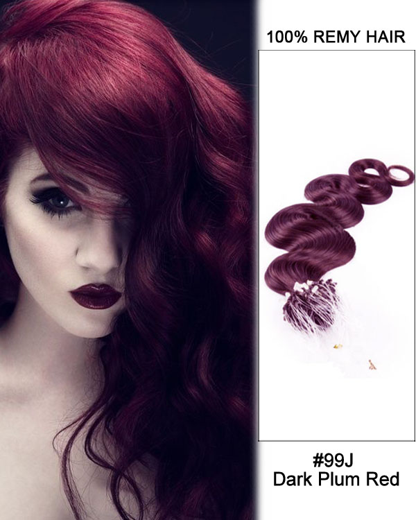 "14"" #99J Dark Plum Red Body Wave Micro Loop 100% Remy Hair Human Hair Extensions-100 strands, 1g/strand"