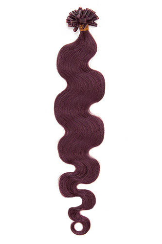 "16"" #99J Dark Plum Red Body Wave Nail Tip U Tip 100% Remy Hair Keratin Hair Extensions-100 strands, 1g/strand"