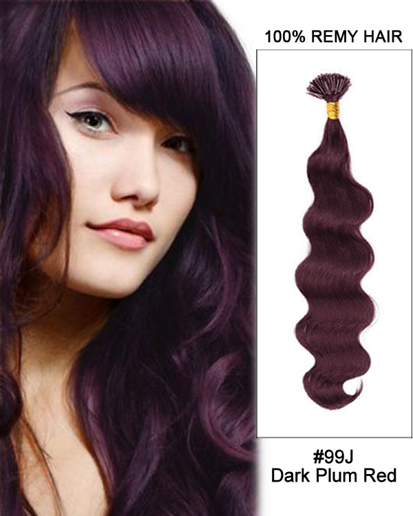 "16"" #99J Dark Plum Red Body Wave Stick Tip I Tip 100% Remy Hair Keratin Hair Extensions-100 strands, 1g/strand"
