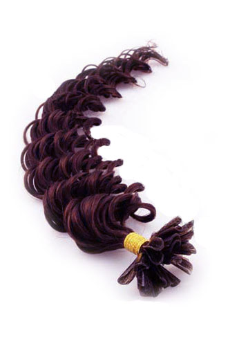 "16"" #99J Dark Plum Red Deep Wave Nail Tip U Tip 100% Remy Hair Keratin Hair Extensions-100 strands, 0.5g/strand"
