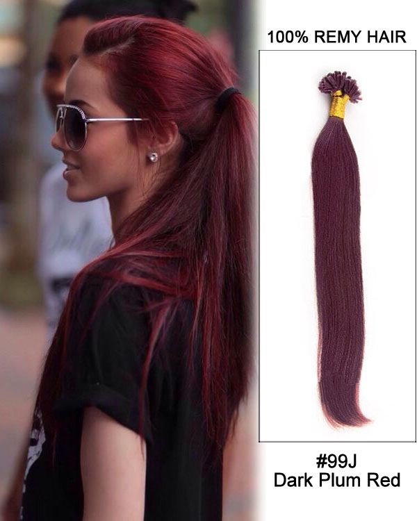 "16"" #99J Dark Plum Red Straight Nail Tip U Tip 100% Remy Hair Keratin Hair Extensions-100 strands, 1g/strand"