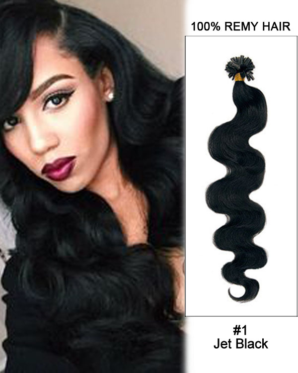 "14""#1 Jet Black Body Wave Nail Tip U Tip 100% Remy Hair Keratin Hair Extensions-100 strands, 1g/strand"