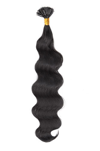 "16"" #1 Jet Black Body Wave Stick Tip I Tip 100% Remy Hair Keratin Hair Extensions-100 strands, 1g/strand"