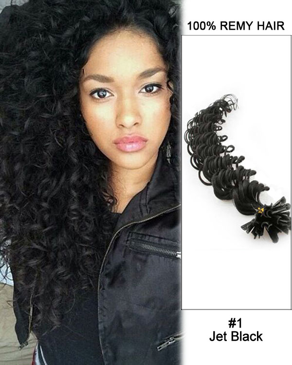 "14""#1 Jet Black Deep Wave Nail Tip U Tip 100% Remy Hair Keratin Hair Extensions-100 strands, 1g/strand"