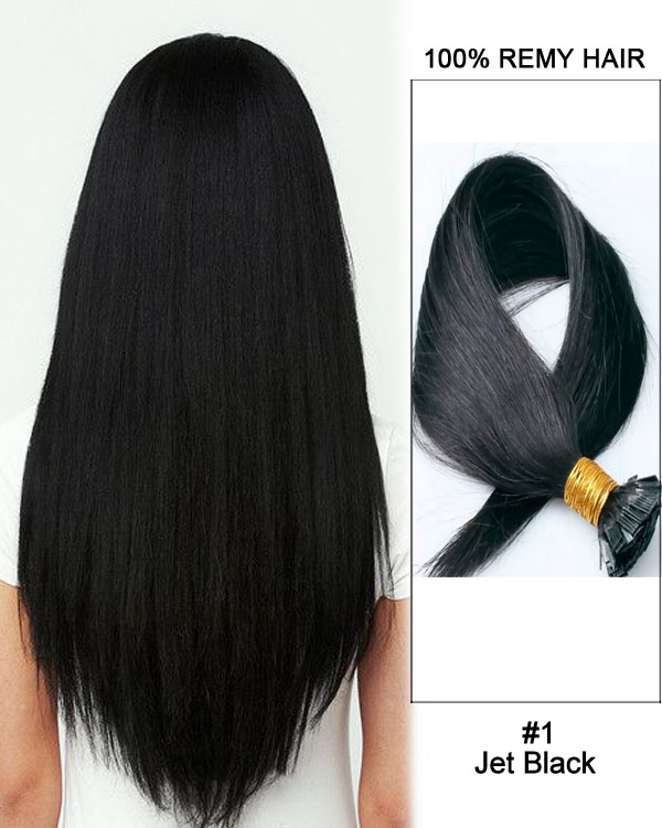 "14""#1 Jet Black Straight Flat Tip 100% Remy Hair Flat Pre Bonded Hair Extensions-100 strands, 1g/strand"