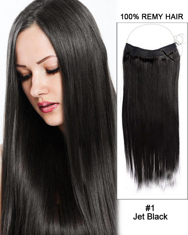 "16"" #1 Jet Black Straight Invisible Wire Secret Hair Extensions 100% Remy Hair Human Hair Extensions"