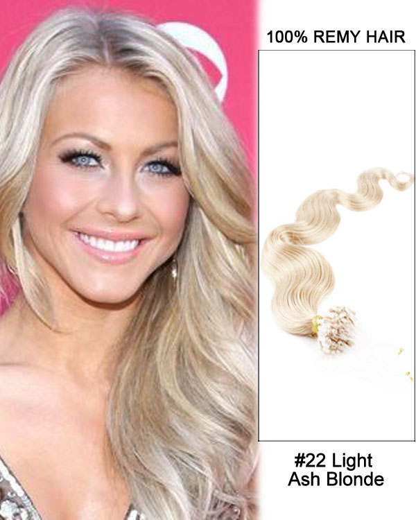 "16"" #22 Light Ash Blonde Body Wave Micro Loop 100% Remy Hair Human Hair Extensions-50 strands, 1g/strand"