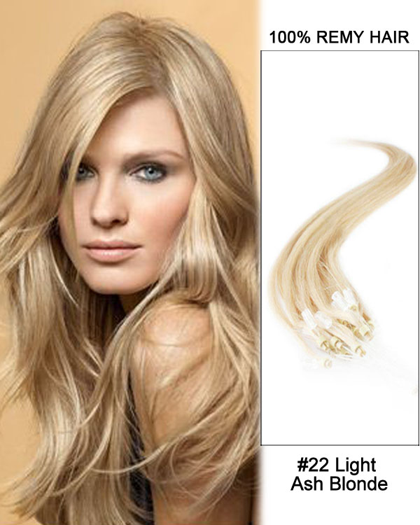 "14"" #22 Light Ash Blonde Straight Micro Loop 100% Remy Hair Human Hair Extensions-50 strands, 1g/strand"
