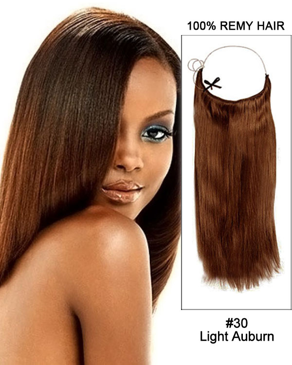 "22"" #30 Light Auburn Straight Invisible Wire Secret Hair Extensions 100% Remy Hair Human Hair Extensions"