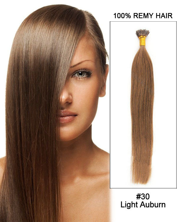 "14"" #30 Light Auburn Straight Stick Tip I Tip 100% Remy Hair Keratin Hair Extensions-100 strands, 1g/strand"