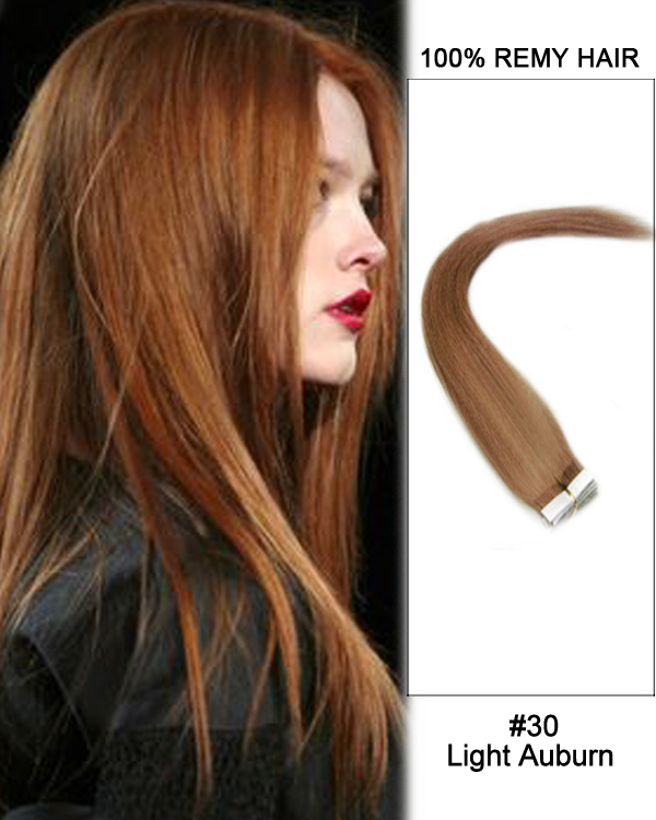 14 30 Light Auburn Straight 100 Remy Hair Tape In Hair Extensions