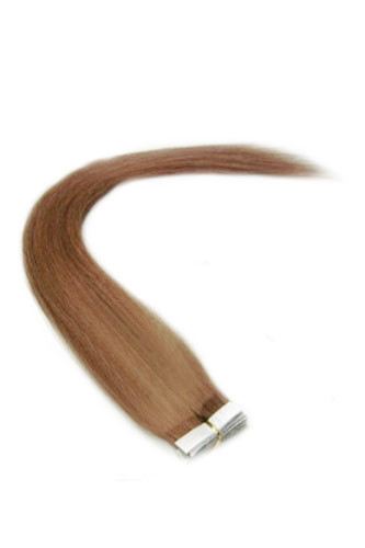 "14"" #30 Light Auburn Straight 100% Remy Hair Tape In Hair Extensions-40 pcs"
