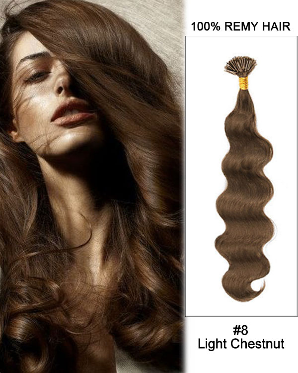"16"" #8 Light Chestnut Body Wave Stick Tip I Tip 100% Remy Hair Keratin Hair Extensions-100 strands, 1g/strand"