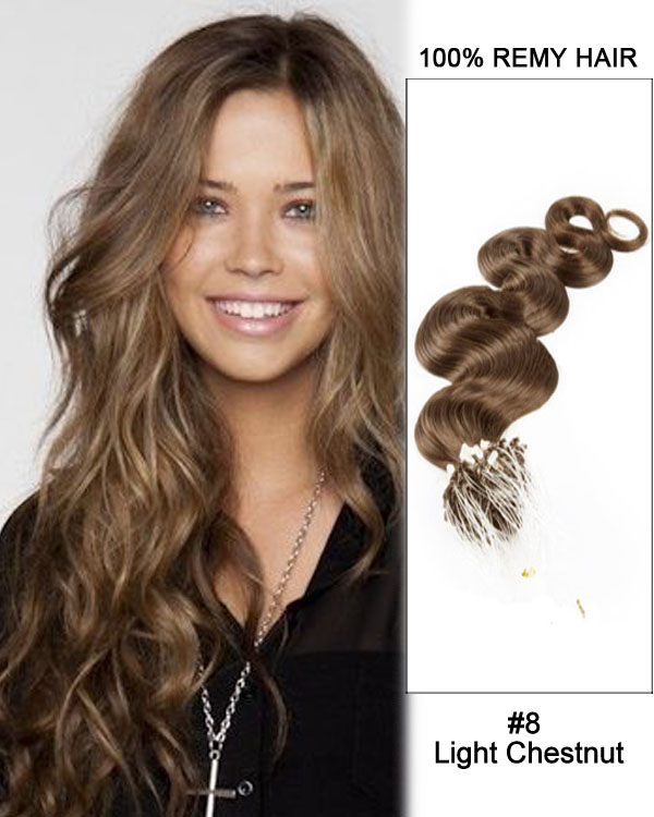 "16"" #8 Light Chestnut Body Wave Micro Loop 100% Remy Hair Human Hair Extensions-50 strands, 1g/strand"