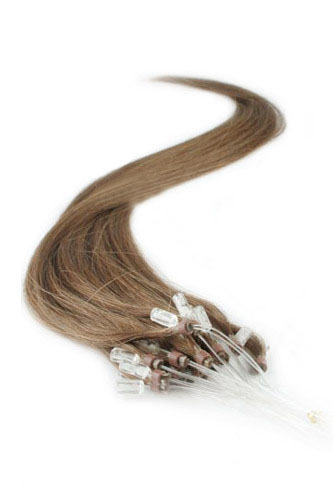 "14"" #8 Light Chestnut Straight Micro Loop 100% Remy Hair Human Hair Extensions-100 strands, 1g/strand"