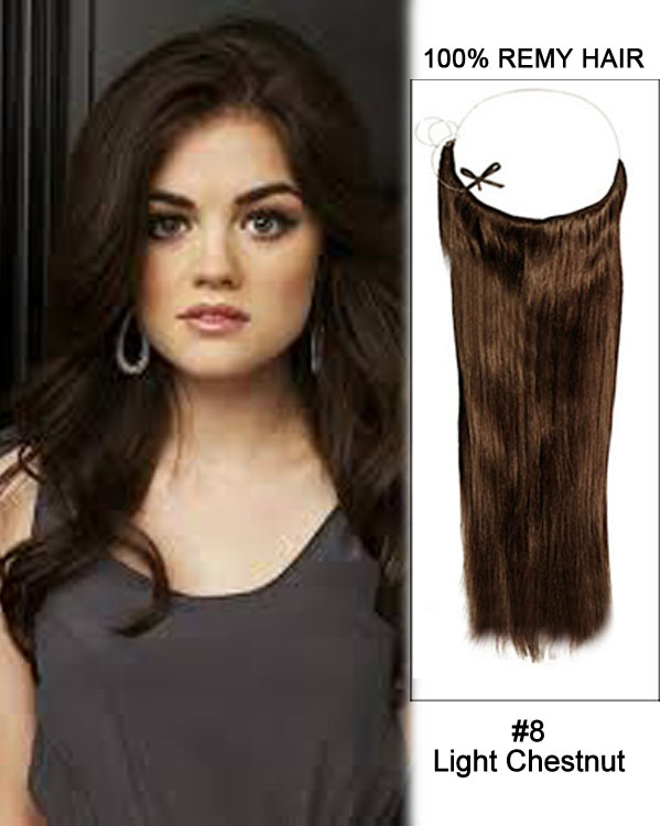"18"" #8 Light Chestnut Straight Invisible Wire Secret Hair Extensions 100% Remy Hair Human Hair Extensions"
