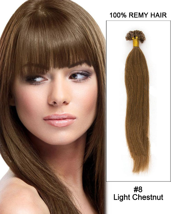 "16"" #8 Light Chestnut Straight Nail Tip U Tip 100% Remy Hair Keratin Hair Extensions-100 strands, 1g/strand"