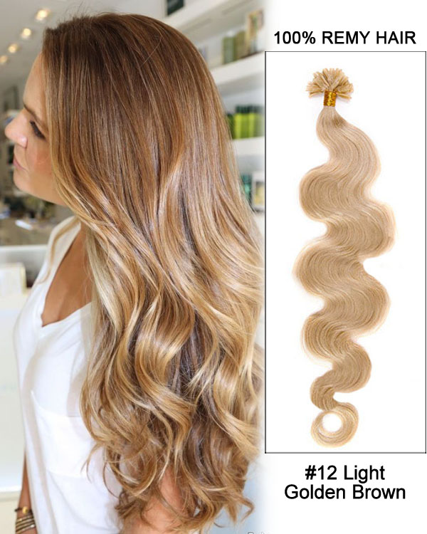 "16"" #12 Light Golden Brown Body Wave Nail Tip U Tip 100% Remy Hair Keratin Hair Extensions-100 strands, 1g/strand"