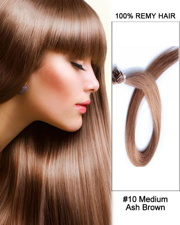 "14""#10 Medium Ash Brown Straight Flat Tip 100% Remy Hair Flat Pre Bonded Hair Extensions-100 strands, 1g/strand"