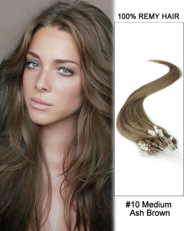 "14"" #10 Medium Ash Brown Straight Micro Loop 100% Remy Hair Human Hair Extensions-100 strands, 1g/strand"
