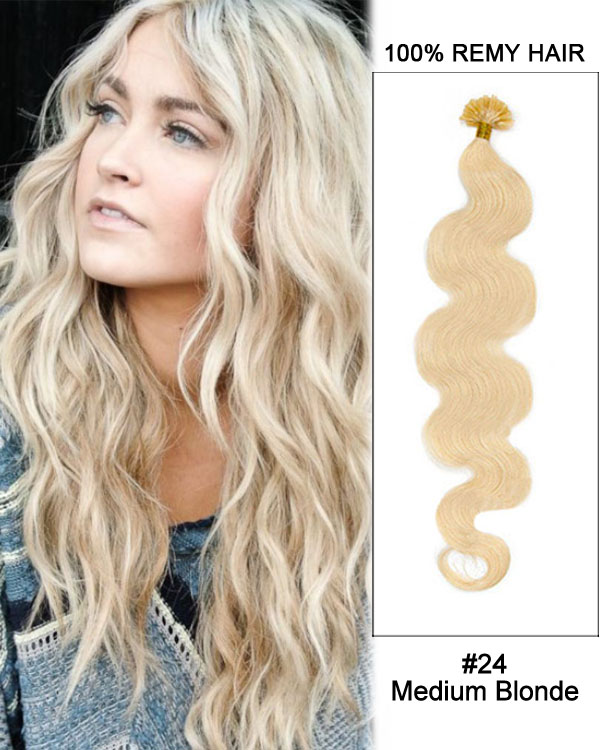 "16"" #24 Medium Blonde Body Wave Nail Tip U Tip 100% Remy Hair Keratin Hair Extensions-100 strands, 1g/strand"