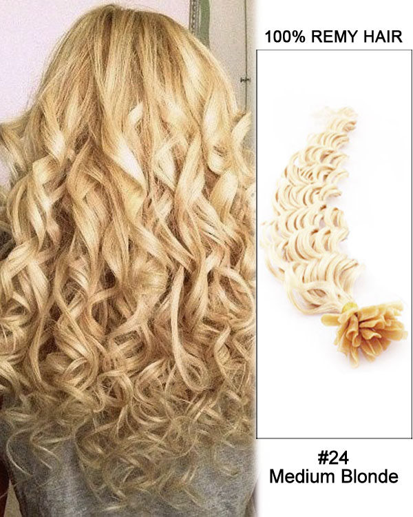 14 24 Medium Blonde 300 Strands Deep Wave Nail Tip U Tip 100 Remy