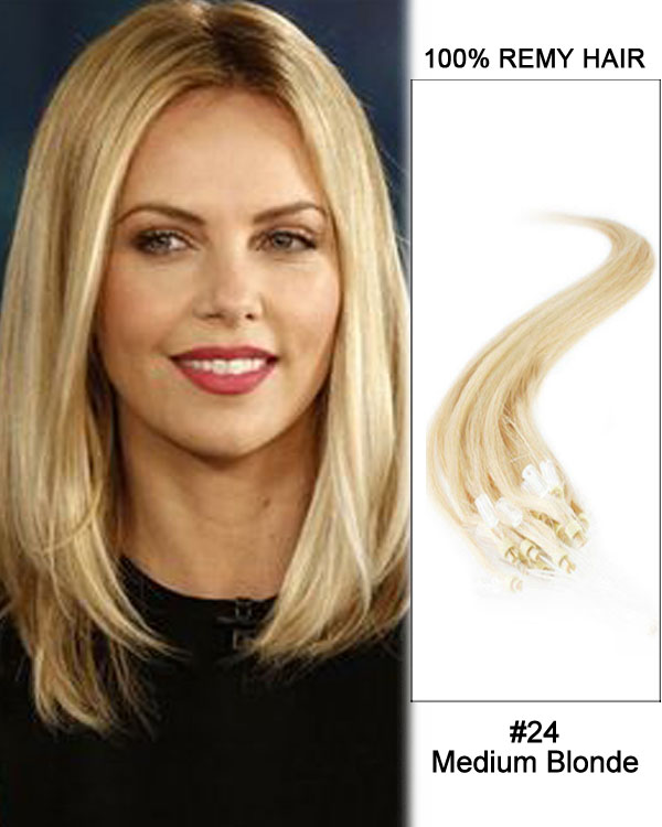 "14"" #24 Medium Blonde Straight Micro Loop 100% Remy Hair Human Hair Extensions-100 strands, 1g/strand"