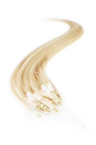 "16"" #24 Medium Blonde Straight Micro Loop 100% Remy Hair Human Hair Extensions-100 strands, 1g/strand"