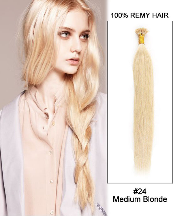 "14"" #24 Medium Blonde Straight Stick Tip I Tip 100% Remy Hair Keratin Hair Extensions-100 strands, 1g/strand"