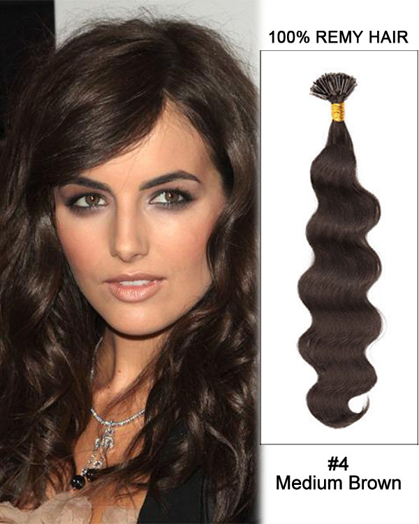 "16"" #4 Medium Brown Body Wave Stick Tip I Tip 100% Remy Hair Keratin Hair Extensions-100 strands, 1g/strand"