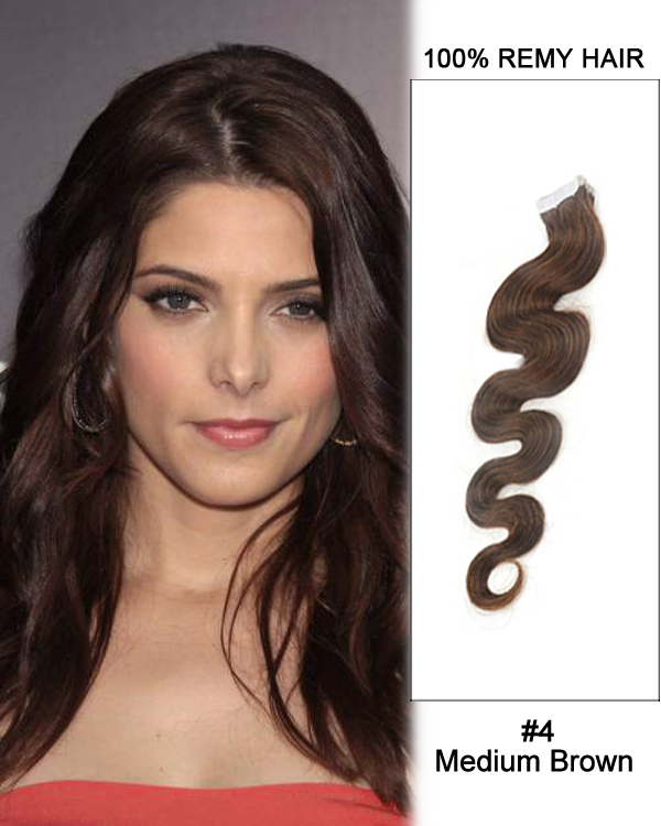 "16"" #4 Medium Brown Body Wave Tape In 100% Remy Hair Human Hair Extensions-40 pcs"