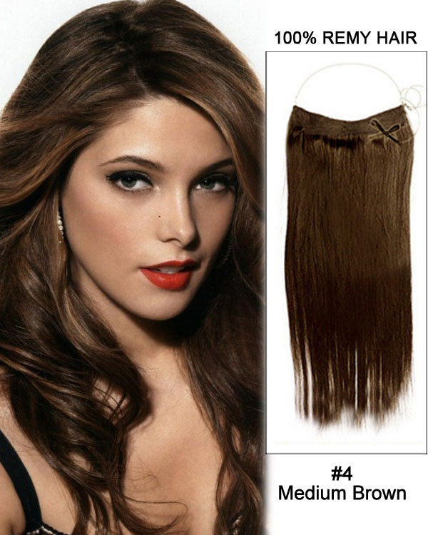 "16"" #4 Medium Brown Straight Invisible Wire Secret Hair Extensions 100% Remy Hair Human Hair Extensions"