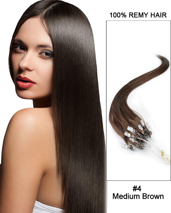 "16"" #4 Medium Brown Straight Micro Loop 100% Remy Hair Human Hair Extensions-50 strands, 1g/strand"
