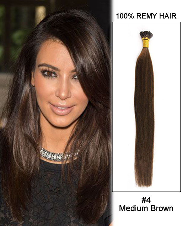 "14"" #4 Medium Brown Straight Stick Tip I Tip 100% Remy Hair Keratin Hair Extensions-100 strands, 1g/strand"