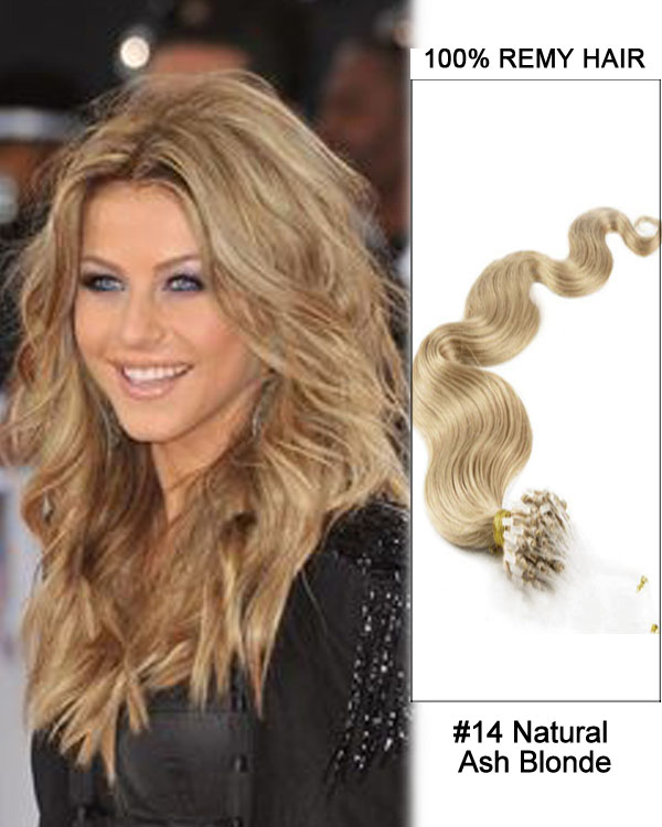 "14"" #14 Natural Ash Blonde Body Wave Micro Loop 100% Remy Hair Human Hair Extensions-100 strands, 1g/strand"