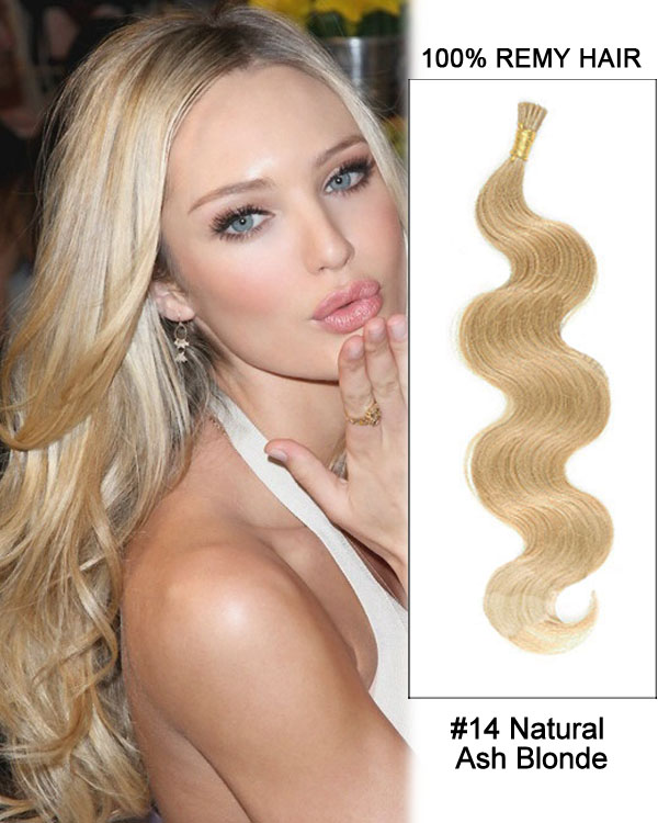 "14"" #14 Natural Ash Blonde Body Wave Stick Tip I Tip 100% Remy Hair Keratin Hair Extensions-100 strands, 1g/strand"