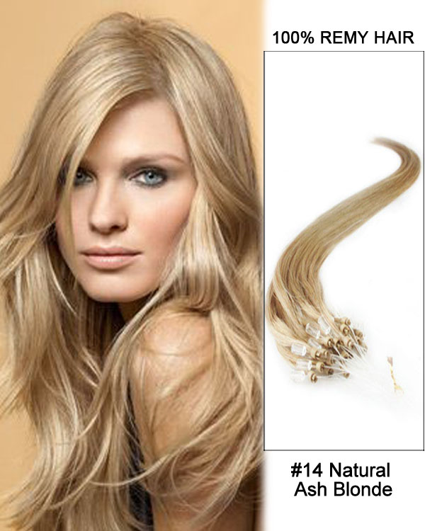 "14"" #14 Natural Ash Blonde Straight Micro Loop 100% Remy Hair Human Hair Extensions-100 strands, 1g/strand"