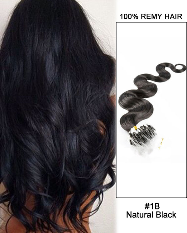 "16"" #1B Natural Black Body Wave Micro Loop 100% Remy Hair Human Hair Extensions-50 strands, 1g/strand"