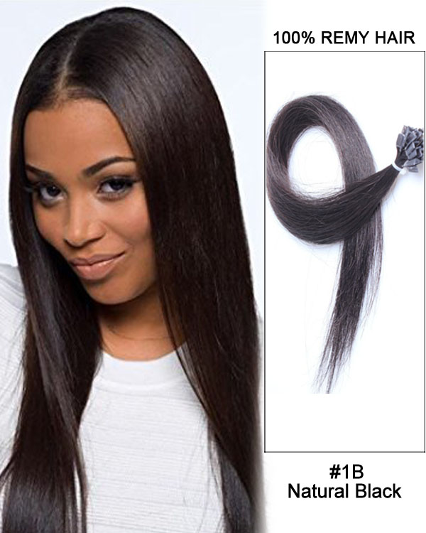 "14""#1B Natural Black Straight Flat Tip 100% Remy Hair Flat Pre Bonded Hair Extensions-100 strands, 1g/strand"