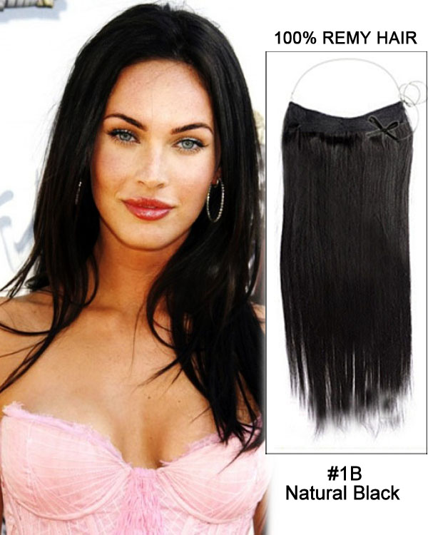 "16"" #1B Natural Black Straight Flip In Human Hair Extensions 100% Remy Hair"