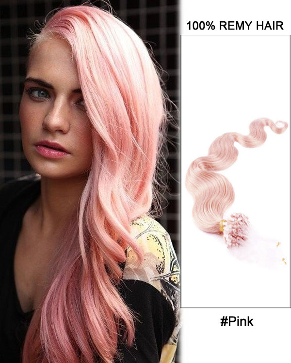 "16"" Pink Body Wave Micro Loop 100% Remy Hair Human Hair Extensions-50 strands, 1g/strand"