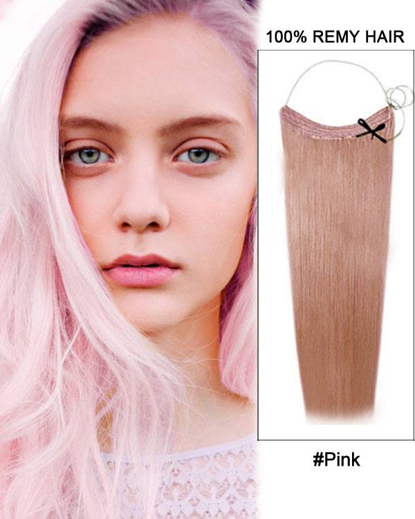 "22"" Pink Straight Invisible Wire Secret Hair Extensions 100% Remy Hair Human Hair Extensions"