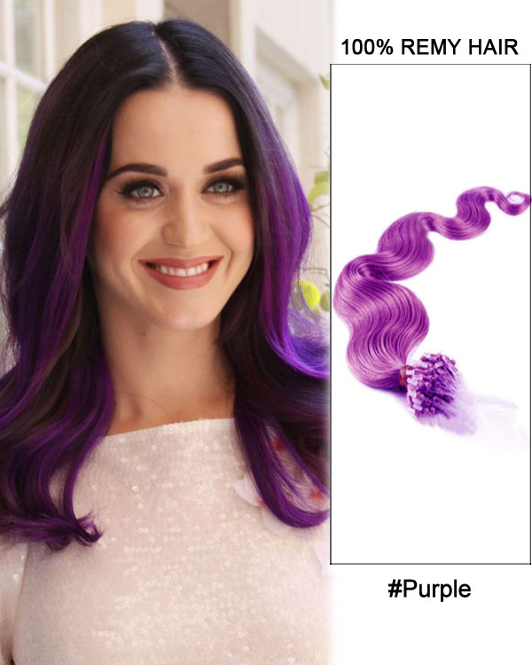 "14"" Purple Body Wave Micro Loop 100% Remy Hair Human Hair Extensions-100 strands, 1g/strand"