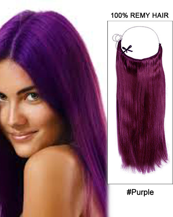 22 Purple Straight Invisible Wire Secret Hair Extensions 100 Remy