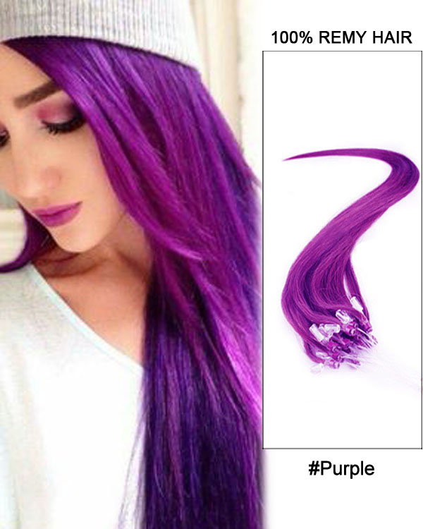 16 Purple Straight Micro Loop 100 Remy Hair Human Hair Extensions